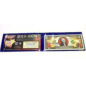 Bao lì xì Tờ 2 Đô La Mỹ hình Con Heo mạ vàng