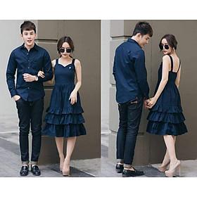 đồ đôi nam nữ, sét váy áo đôi màu xanh đen thời trang