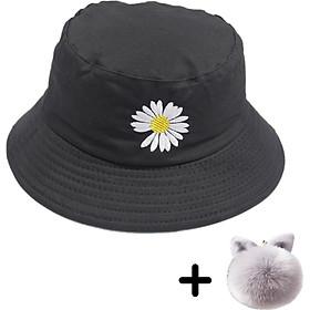 Mũ hoa cúc đẹp dành cho nam và nữ hot trend, vải cotton bền đẹp, thêu nổi hoa cúc thời trang (Tặng kèm móc khóa bông độc đáo)