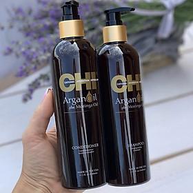 Bộ dầu gội xả CHI Argan Oil Plus Moringa Mỹ 340ml - Dưỡng ẩm mềm mượt trẻ hóa tóc-4