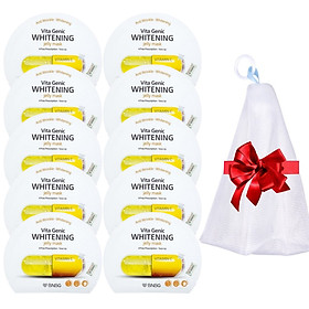 Combo 10 Mặt nạ giấy dưỡng da BNBG Vita Genic Whitening Jelly Mask (Vitamin C) 30ml x10 Tặng 1 lưới tạo bọt rửa mặt