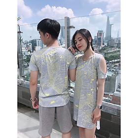 Set đồ đôi áo váy cặp CoupleTina 100% cotton cao cấp  - Màu xám họa tiết đẹp mắt