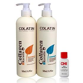Bộ dầu gội xả Colatin Collagen dưỡng chất tơ tằm 500ml + Tinh dầu dưỡng tóc CHI Infusion 15ml-2