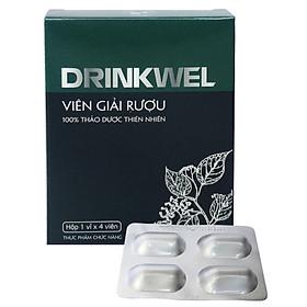 Viên giải rượu, giải độc gan, mát gan, giảm tình trạng khô khát khi say, thanh nhiệt, tăng cường chức năng gan. Drinkwel, hộp vỉ 4 viên (Đen).