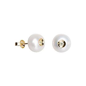 Bông Tai Galatea Jewelry Diamond In A Pearl 906.04YW - Trắng