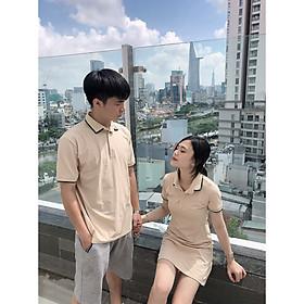 Set đồ đôi áo váy cặp CoupleTina 100% cotton cao cấp - Màu be