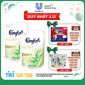 Combo 2 Nước Xả Làm Mềm Vải Comfort Nature Thanh Lọc Khử Mùi Túi 1.5L
