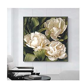 Tranh treo tường vuông hoa mẫu đơn, phong cách cổ điển, sang trọng,  phong cách sơn dầu,in canvas , kèm khung siêu nhẹ PVP-DC1V09