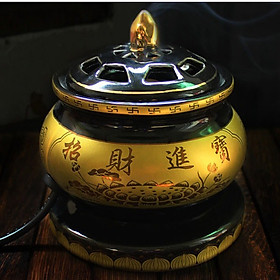 Lư xông trầm hương, tinh dầu bằng điện chữ thập, có nhiều chế độ hẹn giờ tự động