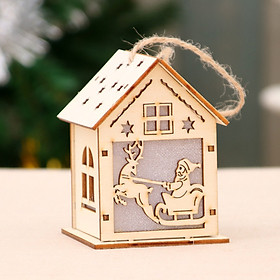 Fun Xmas Luminous Wooden House Hotel Christmas Tree Window Decoration Pendant Ornaments DIY Gift