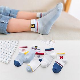 Set 5 đôi Tất Vớ Cotton + Bông Tự Nhiên Cao Cấp Cho Bé Trai V001