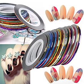 Băng keo dán móng lấp lánh 30 màu - sticker trang trí móng nail art N30