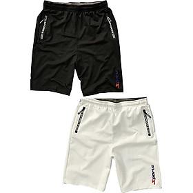 Combo 2 Quần shorts thể thao nam dạng sọt sport đùi chất thun lạnh 4 chiều cao cấp phù hợp tập gym hay mặc nhà màu trắng và đen DUI-P101