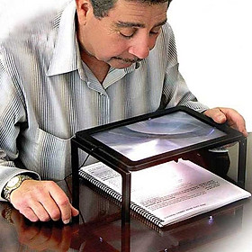 Kính lúp 5X để bàn, đeo cổ hỗ trợ người già đọc sách có đèn led trợ sáng ( Tặng kèm pin )