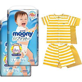 Bộ 2 tã quần cao cấp bé trai Moony L44 - [Tặng bộ quần áo Nous 18-24m]-0