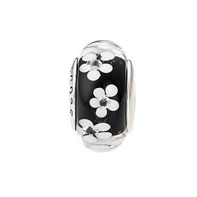 Hình đại diện sản phẩm Hạt charm DIY PNJSilver hình dẹt tròn màu đen hoa văn 0000K060171-BO