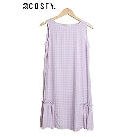 Váy Ngủ, Đầm Mặc Nhà Tole (Lanh) 3COSTY. B2VSN Nhiều Họa Tiết - Caro Tím - XL (62kg - 68kg)