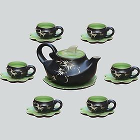 Bộ ấm chén men thủy tinh Chim Phụng gốm sứ Bát Tràng (bộ bình uống trà, bình trà)