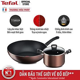 Combo Nồi thân cao Tefal Day By Day 22cm G1436105 và Chảo xào Tefal Day By Day 26cm G1437705 - Chống dính - Đáy từ - Dùng cho mọi loại bếp - Hàng chính hãng