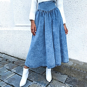 Fashion Women Winter Denim Skirt Solid Color High Waist Pleated Zipper Casual Skirt