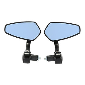 """Pair of Motorcycle End Bar Rearview Mirror Universal 7/8"""" Handle Bar 360°Swivel & Angle Adjustable Side View Mirrors"""