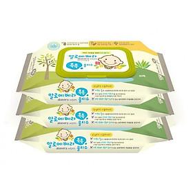 Bộ 3 gói khăn giấy ướt  Living Aloe Vera Chok Chok - loại 80 tờ/gói