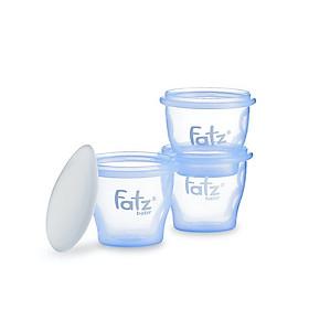 Bộ 3 Cốc Trữ Thức Ăn Dặm Fatzbaby 85ml- Tặng kèm 1 thìa ăn dặm báo nóng Upass