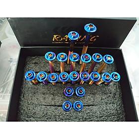 Ốc lốc dành cho xe máy Exciter 150 (Full bộ 21 con) - Xanh tian, Trắng inox