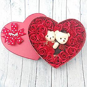 Quà tặng sinh nhật, giáng sinh cho bạn gái - hoa hồng sáp hộp tim 2 gấu, màu đỏ - H2D