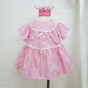 Váy bé gái cộc tay mùa hè Kimbibi màu hồng