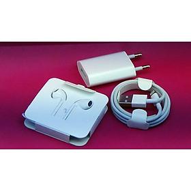 Combo bộ Sạc nhanh và tai nghe dành cho iPhone 7 (củ dẹt, cáp, tai nghe màu trắng)