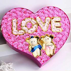 Hình đại diện sản phẩm Hộp quà trái tim 2 gấu bông và hoa hồng sáp 99 bông