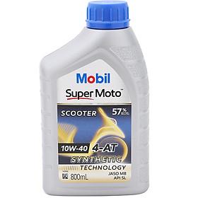 Nhớt Xe Tay Ga Mobil Super Moto Scooter 10W-40 Tiêu Chuẩn JASO MB API SL (0.8L) - Hàng Chính Hãng