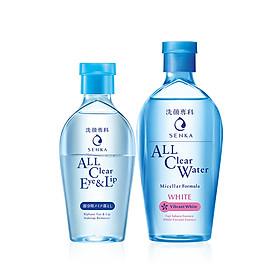 Bộ Nước tẩy trang Senka dịu nhẹ dùng cho mặt và mắt môi (Senka A.L.L. CLEAR WATER Micellar Formula White 230ml and A.L.L Clear Eye & Lip 150ml)