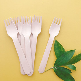 Eco Wooden Bộ 100 chiếc Dĩa (Nĩa) bằng gỗ 16cm sử dụng một lần thân thiện với môi trường