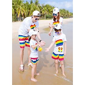 Bộ đồng phục gia đình đi biển cho bố (cầu vồng) - MADE IN VIETNAM