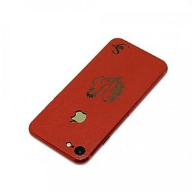Ốp dán da iPhone 8 - Da thật nhập khẩu cao cấp - Davis (Đỏ vân)