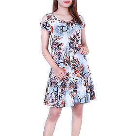 Váy đầm lanh (tole) Vicci Thái 3D TVN004.3có tay họa tiết hoa nền xanh nâu
