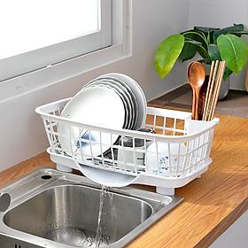 Kệ (rổ) úp chén bát, đĩa và thìa đũa có khay thoát nước khô thoáng, tiện lợi 45X23X13cm - Giao màu ngẫu nhiên