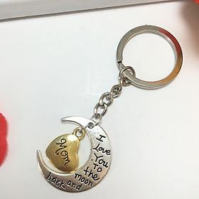 """Móc khóa nhắn gửi yêu thương """"I love you to the moon and back"""" quà tặng ý nghĩa cho người thân yêu (Giao mẫu dây treo ngẫu nhiên)"""