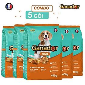 Combo 5 gói thức ăn cho chó trưởng thành Ganador vị gà nướng Adult Roasted Chicken Flavor 400gr