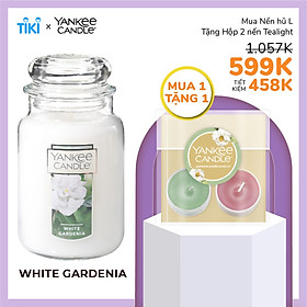 Nến hũ Yankee Candle size L - White Gardenia