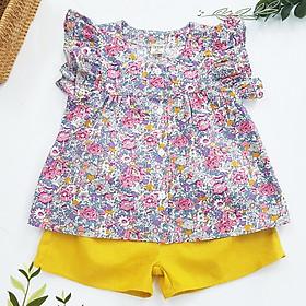 Đồ bộ cho bé gái áo tím hoa nhí quần vàng set trang phục bé gái từ 1-10 tuổi (8-36kg)