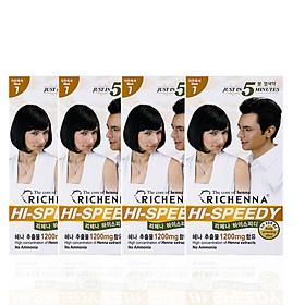 Hình đại diện sản phẩm COMBO 4 hộp Thuốc nhuộm tóc phủ bạc thảo dược Richenna Hi-Speedy Color Hàn Quốc màu đen tự nhiên 60g
