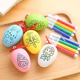 Combo 5 Bộ Trứng Tô Màu Và 4 Bút Lông Màu Mẫu Ngẫu Nhiên Khác Nhau