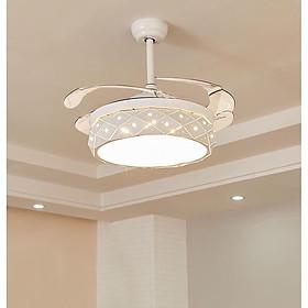 Đèn quạt  trần đẹp động chay tiết kiệm điện công nghệ mới tích hợp led 3 chế độ  ánh  sáng  viền vàng