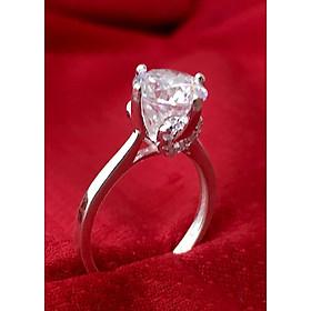 Hình đại diện sản phẩm Nhẫn nữ ổ cao bốn chấu gắn đá kim cương nhân tạo màu trắng bạc 925 cao câp Bạc QTJ - NU31(BẠC)