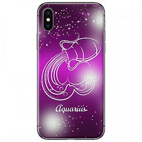 Ốp lưng  dành cho iPhone X mẫu Cung hoàng đạo Aquarius (hồng)