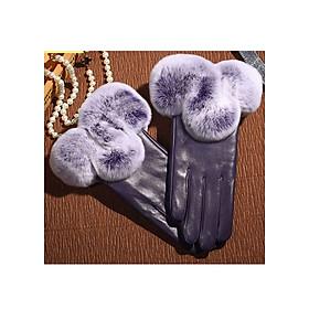 Găng tay da cừu cổ lông cao cấp BH6601