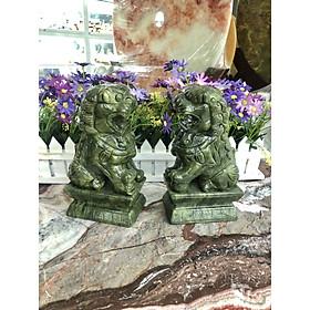 Cặp Kỳ Lân phong thủy đá ngọc Ấn Độ - Cao 20 cm